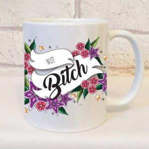 nosy bitch mug by Beautifully Obscene