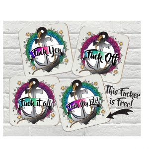 swear word coaster set by Beautifully Obscene