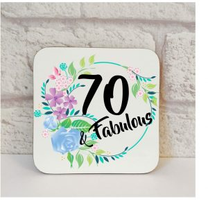 70th birthday gift coaster by Beautifully Obscene