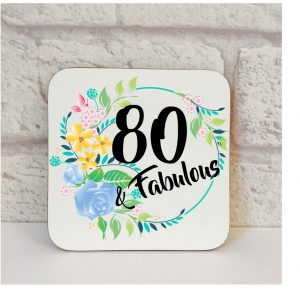 80th birthday gift coaster by Beautifully Obscene