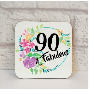 90th birthday gift coaster by Beautifully Obscene