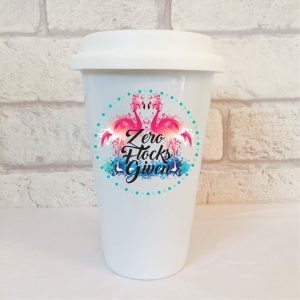 flamingo funny travel mug By Beautifully Obscene