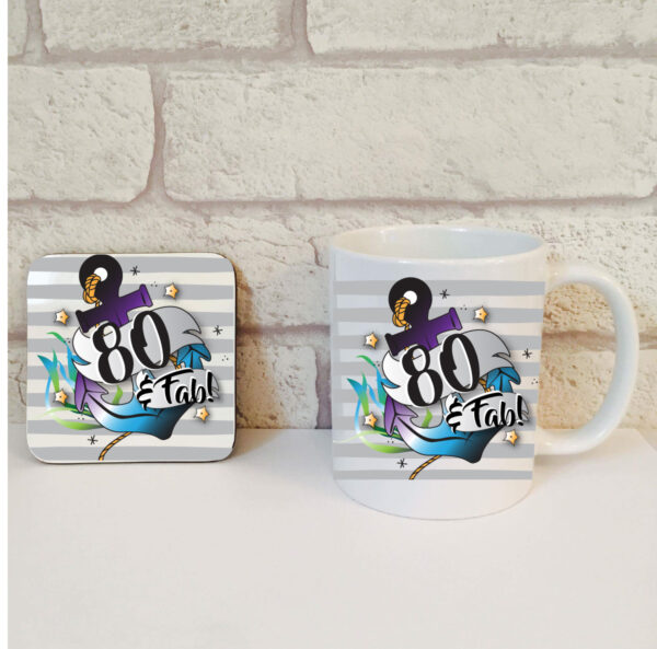 80th birthday mug set for him by Beautifully Obscene