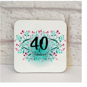 40th birthday drinks coaster by Beautifully Obscene