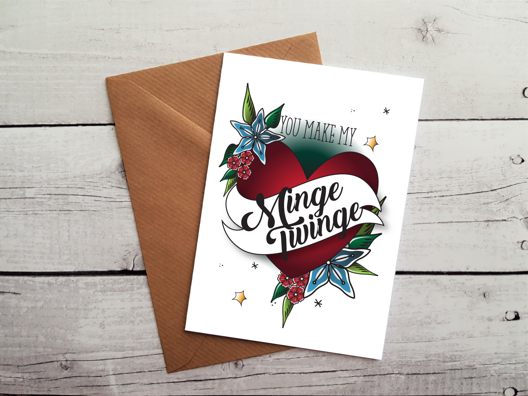 Rude anniversary cards ~ Rude anniversary card you make my minge twinge occasion card