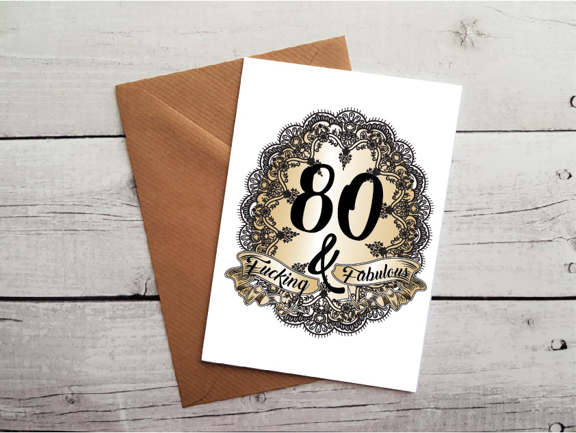 Swearing 80th Birthday Card By Beautifully Obscene