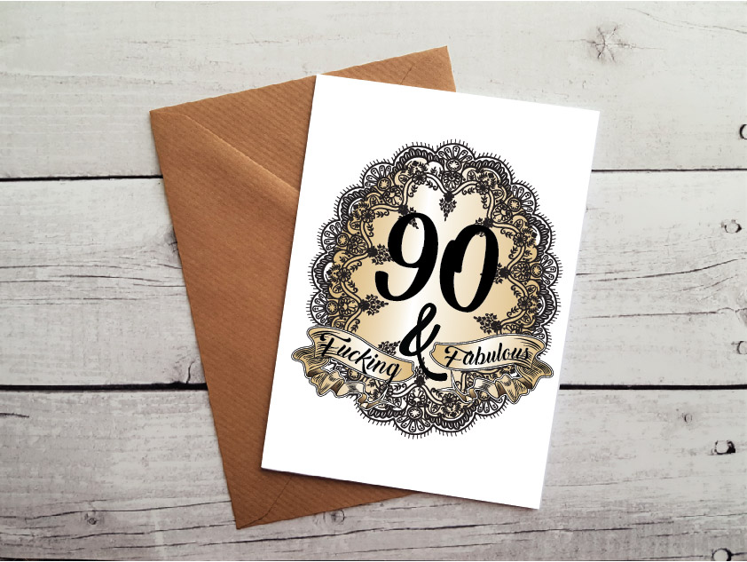 Swearing 90th Birthday Card By Beautifully Obscene