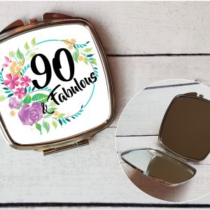90th birthday compact mirror by Beautifully Twee