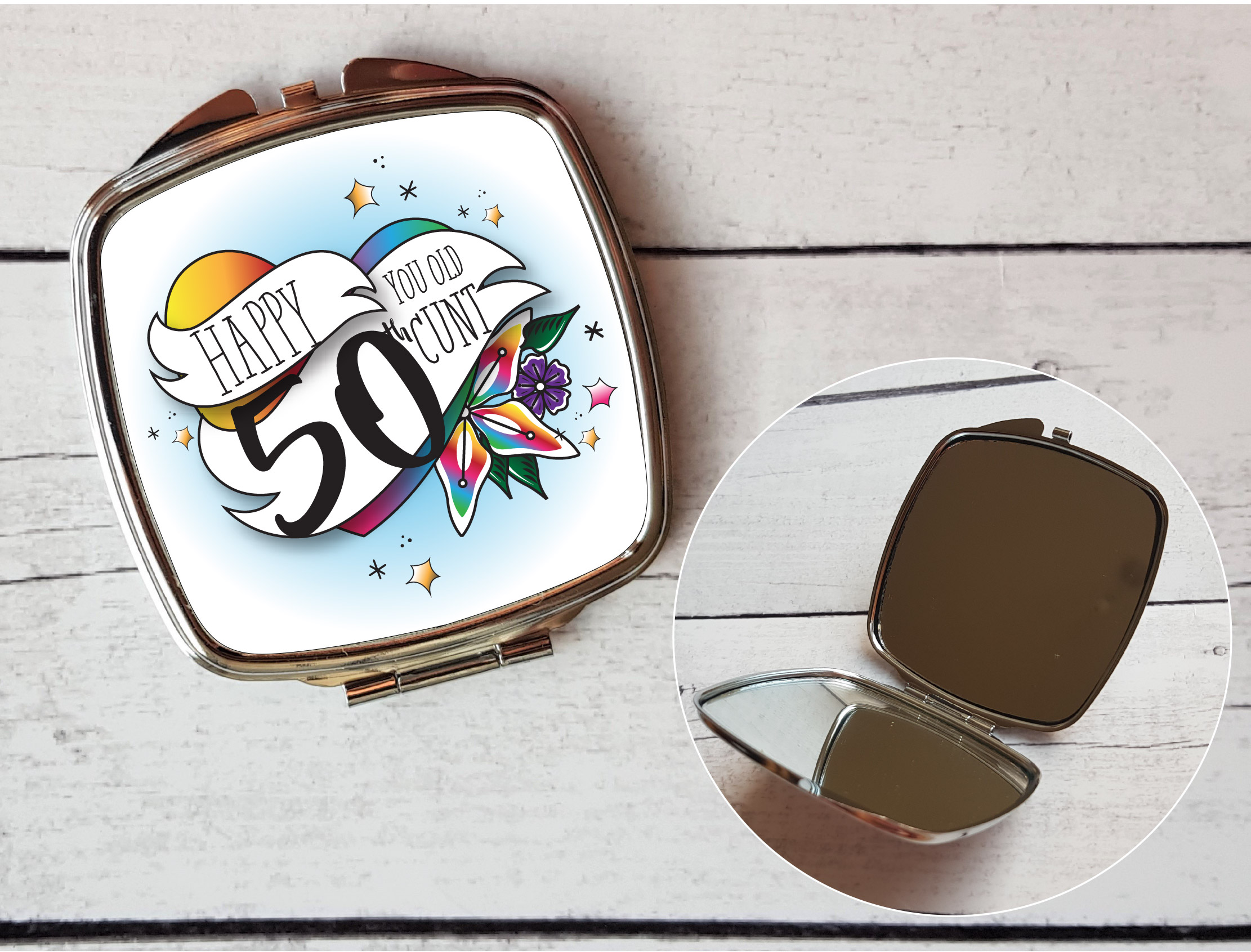 Inexpensive Housewarming Gifts Offensive 50th Compact Mirror Happy 50th You Old Cunt Gift