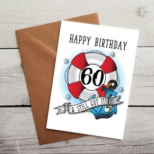 nautical 60th birthday card by Beautifully Obscene