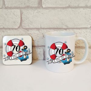 70th birthday coffee mug set by Beautifully Obscene