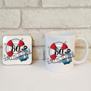 80th birthday coffee mug set by Beautifully Obscene