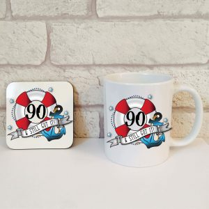 90th birthday coffee mug set by Beautifully Obscene