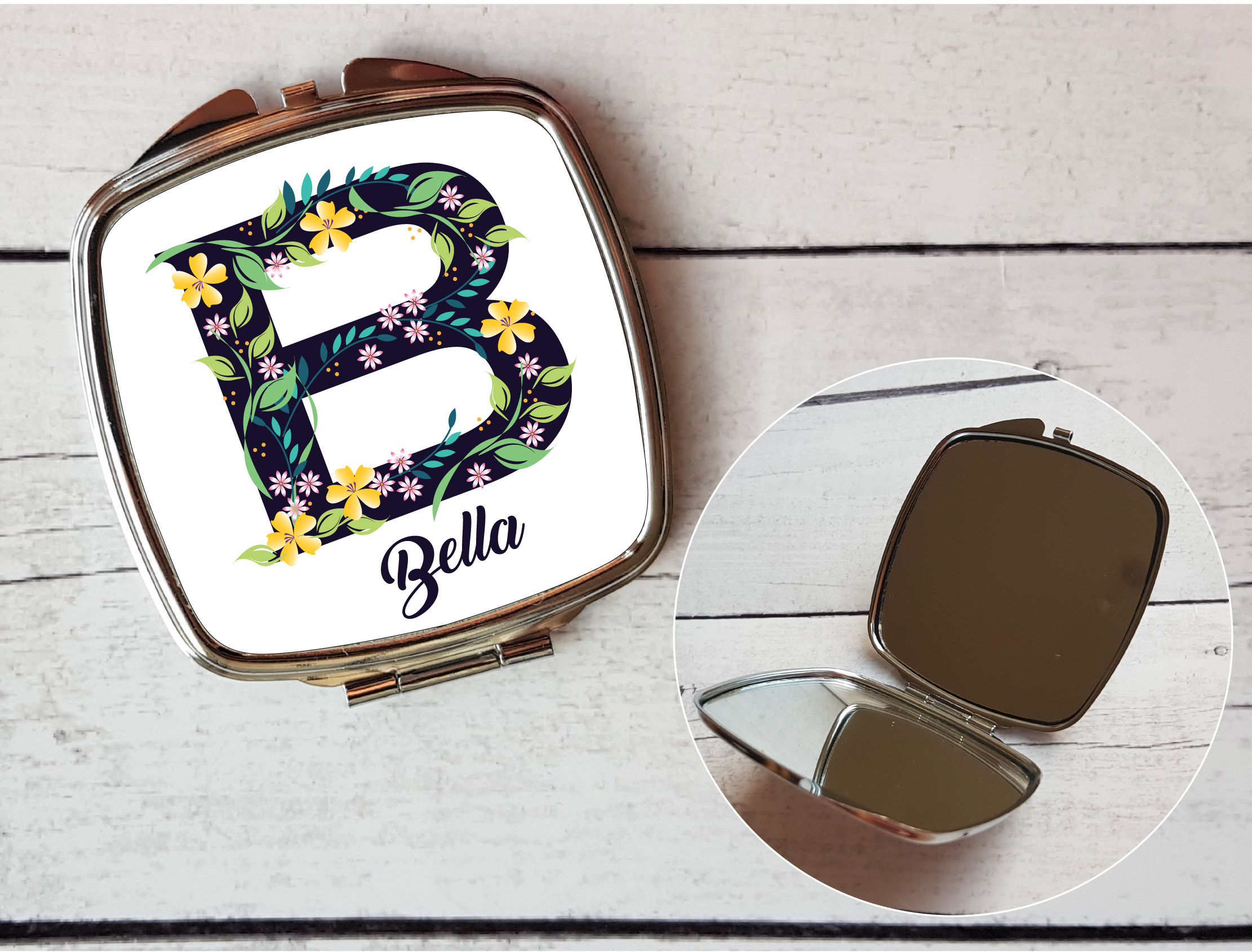 personalised compact mirror uk letter b name gift by. Black Bedroom Furniture Sets. Home Design Ideas