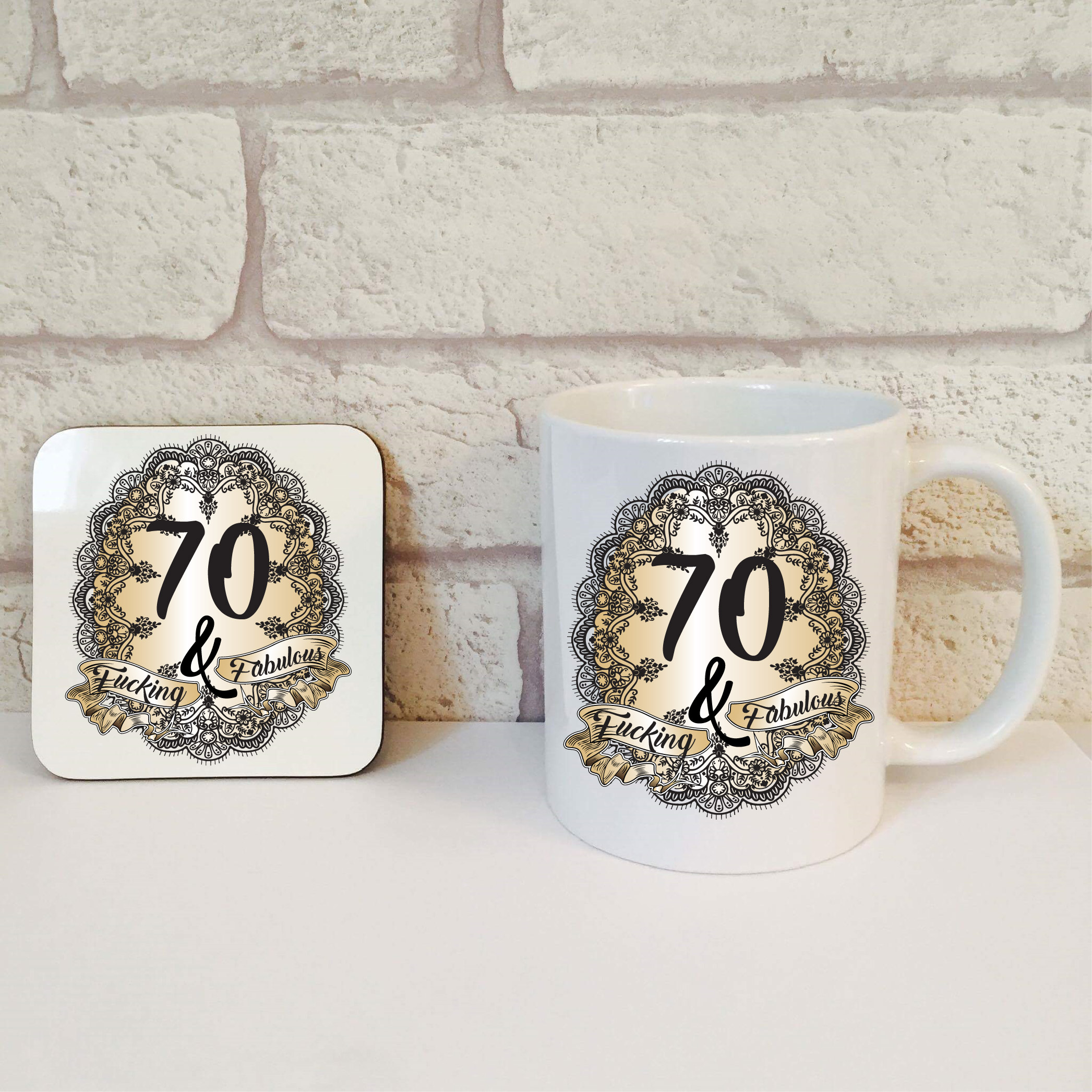Hilarious 70th Birthday Gift Idea 70th Mug Coaster Set 70