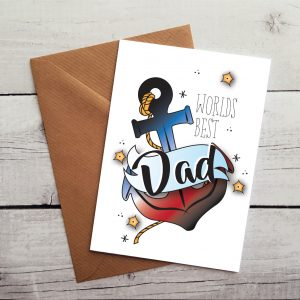 cute worlds best dad occasion card by Beautifully Obscene