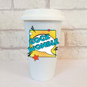 cockwomble travel mug by Beautifully Obscene