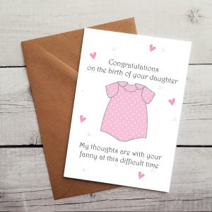 funny baby girl congratulations card by Beautifully Obscene