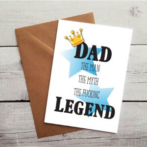 fucking legend dad card by Beautifully Obscene