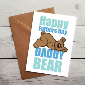 daddy bear blue fathers day card by Beautifully Twee