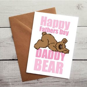 daddy bear pink fathers day card by Beautifully Obscene