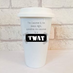 customer service travel mug by Beautifully Obscene