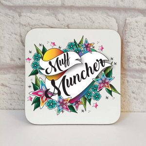 funny lesbian gift ideas, muff muncher coaster by Beautifully Obscene