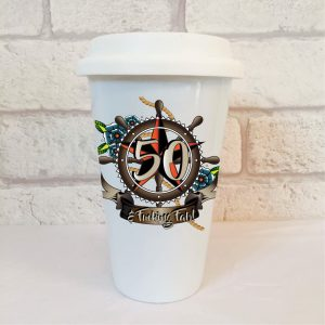 50th birthday mens travel mug by Beautifully Obscene