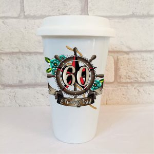 60th birthday mens travel mug by Beautifully Obscene