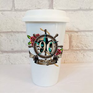 90th birthday mens travel mug by Beautifully Obscene