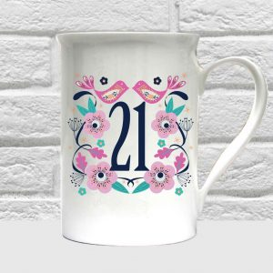 21st birthday bone china mug.
