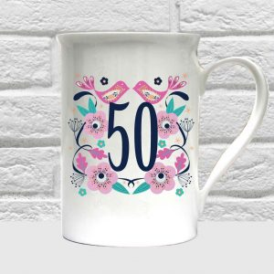 50th birthday bone china mug by Beautifully Obscene