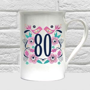 80th birthday bone china mug by Beautifully Obscene