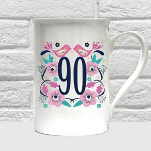 90th birthday bone china mug by Beautifully Obscene
