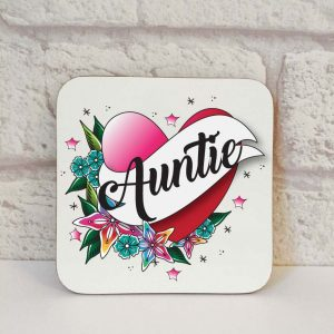 auntie drinks coaster by Beautifully Obscene