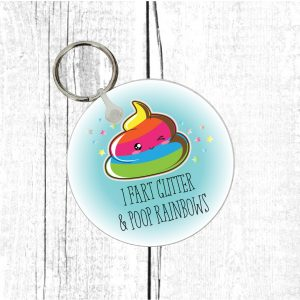 fart glitter poop rainbows keyring by Beautifully Obscene