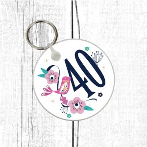 40th birthday keyring by Beautifully Obscene
