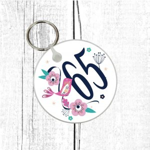 65th birthday keyring by Beautifully Obscene