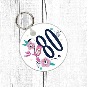 80th birthday keyring by Beautifully Obscene