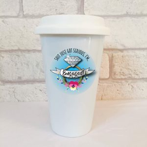 funny engagement travel mug by Beautifully Obscene