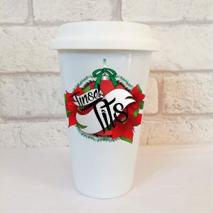 tinsel tits travel mug by Beautifully Obscene