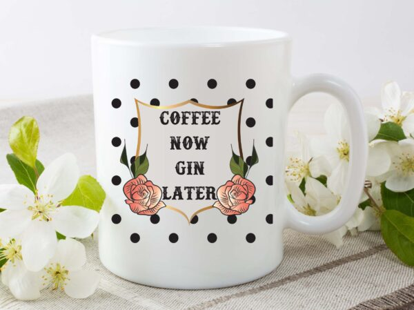 coffee now gin later mug by Beautifully Obscene
