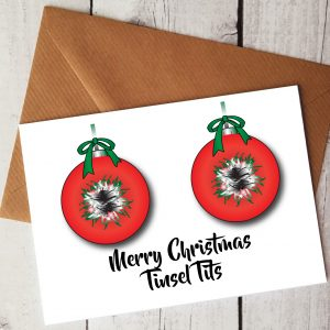 merry christmas tinsel tits card by Beautifully Obscene