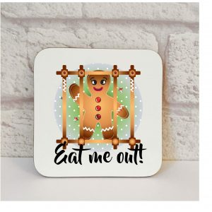 Funny Christmas Stocking Filler, Eat Me Out Coaster.