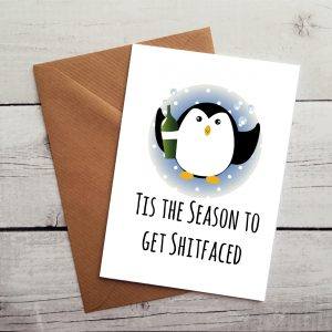 novelty penguin christmas card by Beautifully Obscene