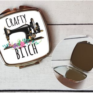 crafty bitch compact mirror by Beautifully Obscene