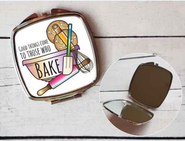 baking lover compact mirror by Beautifully Obscene
