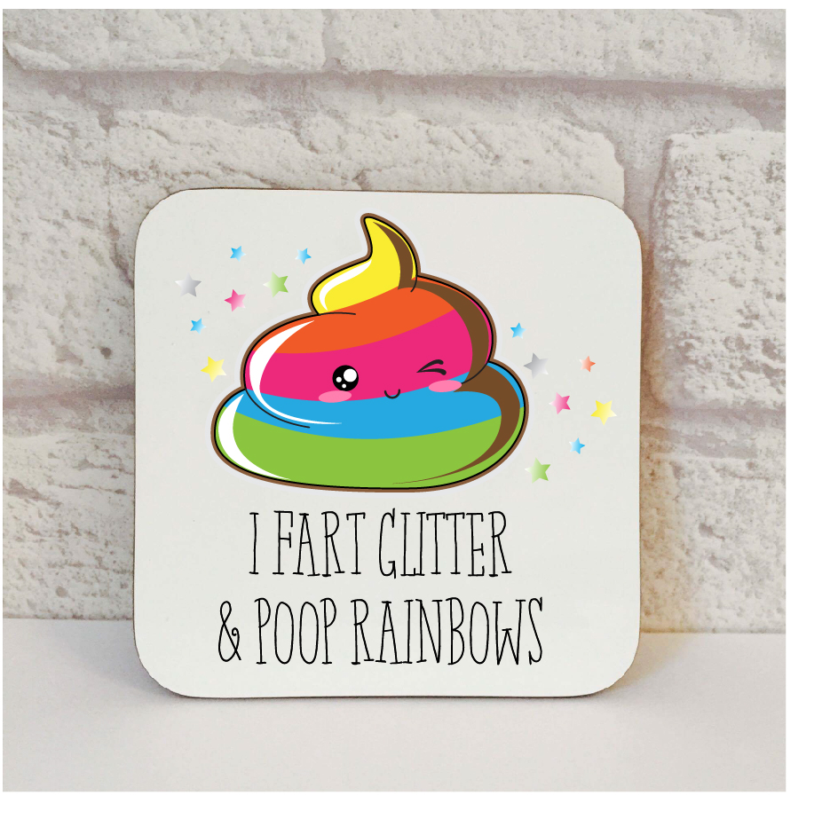 fart glitter poop rainbows coaster by Beautifully Obscene