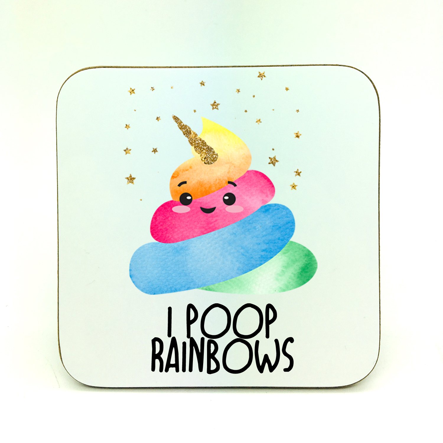 poop rainbows coaster by Beautifully Obscene