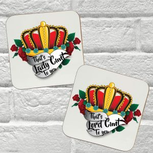 lord cunt lady cunt coaster gift set